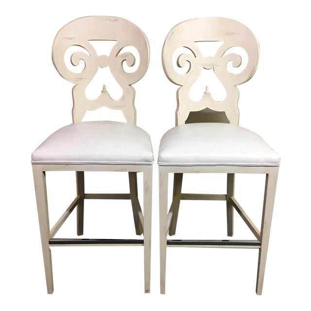 Biedermeier Style Counter Height Distressed White Barstools - A Pair - Image 1 of 11
