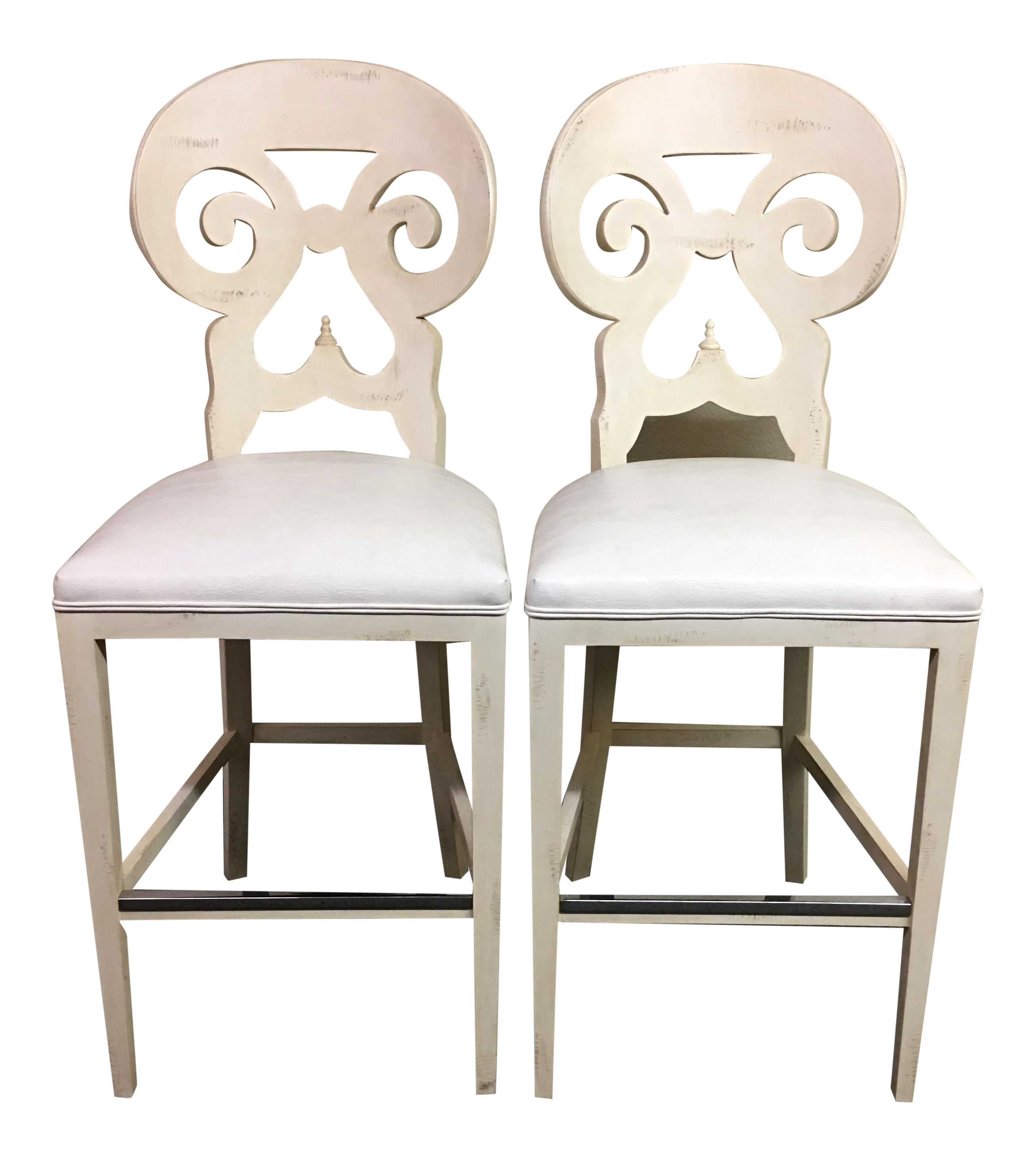 biedermeier style counter height distressed white barstools a pair