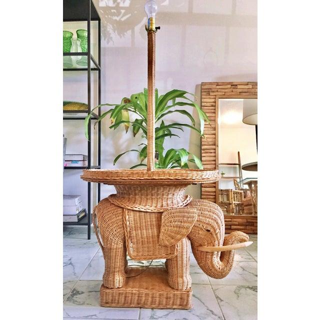 Hollywood Regency Wicker Elephant Table & Lamp - Image 2 of 11