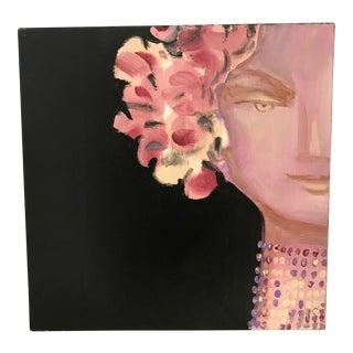 Art Deco Style Floral Goddess Portrait Painting