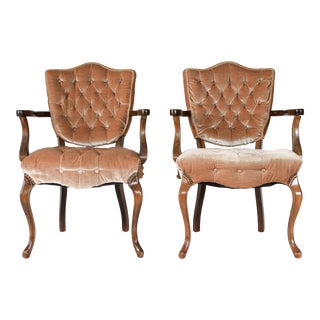 Velvet Tufted Shieldback Chairs - a Pair