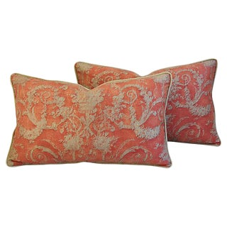 Custom Designer Italian Fortuny Festoni Feather/Down Pillows - Pair