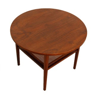 Circular Walnut Rattan Shelf Occasional Table