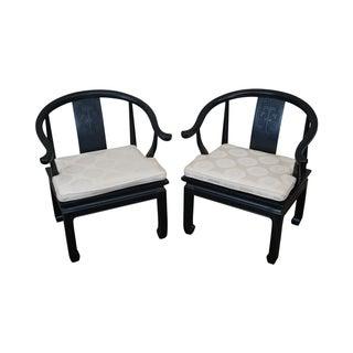 Century Black Asian Influenced Arm Chairs - A Pair