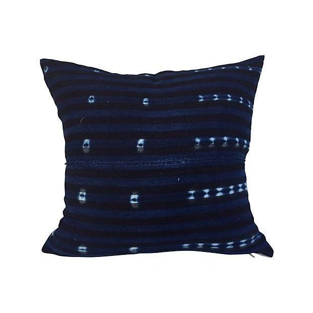 African Indigo Striped Pillows - A Pair - Image 5 of 6