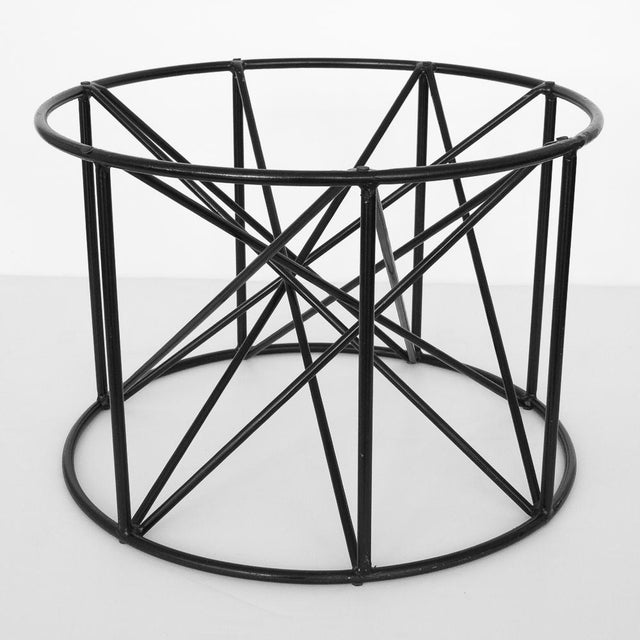 Black Steel Spokes Sculptural Glass Coffee Table - Image 7 of 9