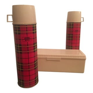 Plaid Thermoses & Bag