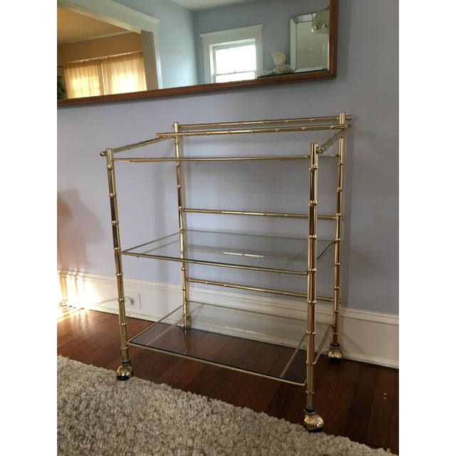 Image of Hollywood Regency Faux Bamboo Brass Bar Cart