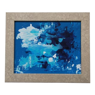 'Blue Tide #2' Abstract Blue Seascape Framed Painting by L. Paul