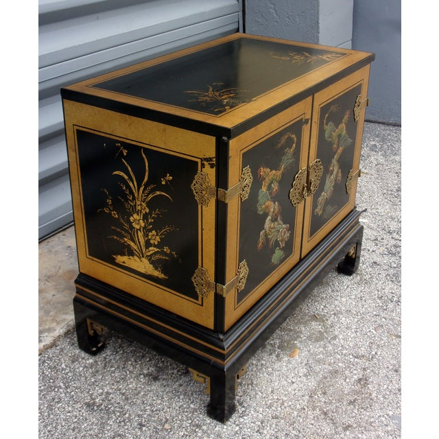 Image of Vintage Asian Style Cabinet With Brass Hardware