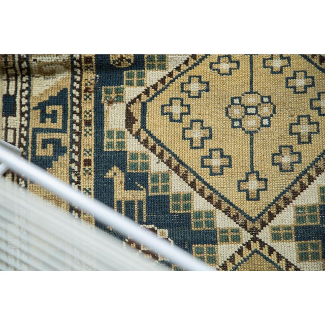 """Vintage Fragmented Caucasian Square Rug - 3'9"""" x 4'8"""" - Image 5 of 7"""
