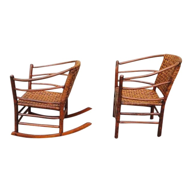 Pair of Signed Old Hickory Barrel Back Rocker and Side Chair - Image 1 of 9