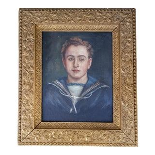 Vintage French Sailor Boy Painting