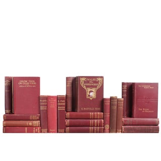 Antique Maroon & Gilt Books - Set of 20