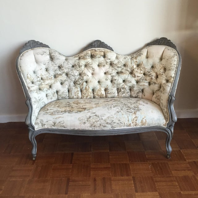 Victorian Reupholstered & Restored Walnut Settee - Image 8 of 8