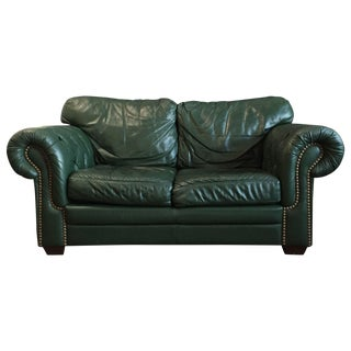 Roll Arm Loveseat in Hunter Green Leather