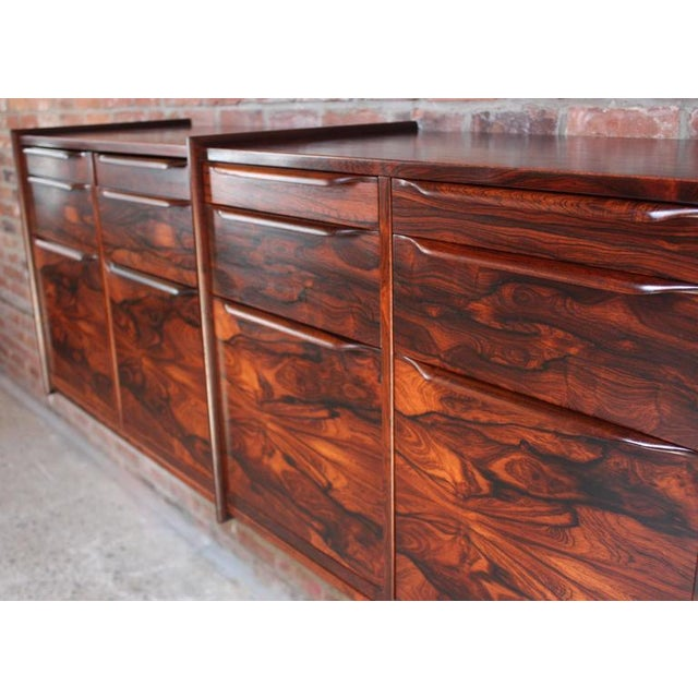 Monumental Scandinavian Modern Rosewood Floating Credenza - Image 7 of 11