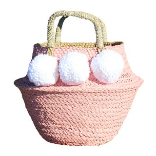Pink Belly Basket With White Pom-Poms
