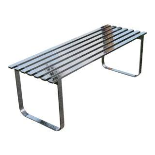 Vintage Milo Baughman Chrome Slat Bench