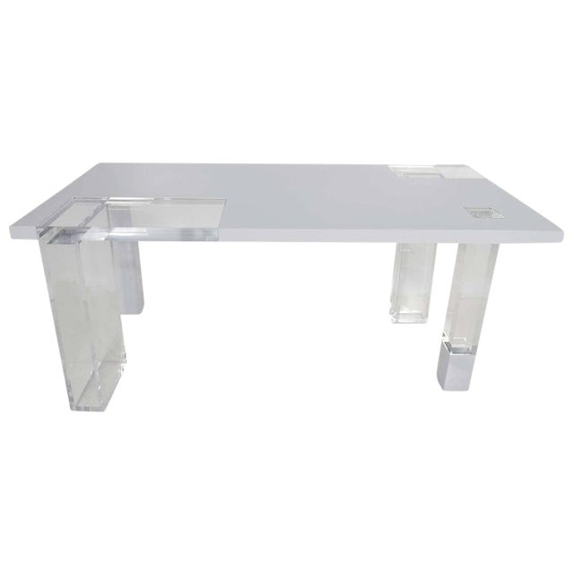 Unique Signed Lucite and White Lacquer Desk or Table - Image 1 of 10