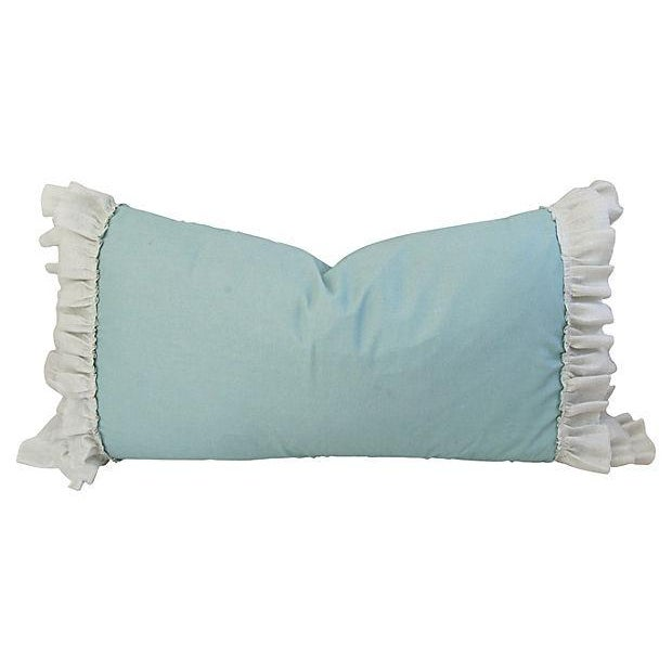 Desginer French Linen & Ruffle Trim Pillows - Pair - Image 3 of 4