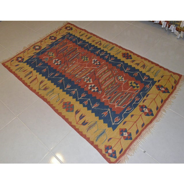 Image of Anatolian Hand Woven Turkish Rug - 3′7″ × 5′3″