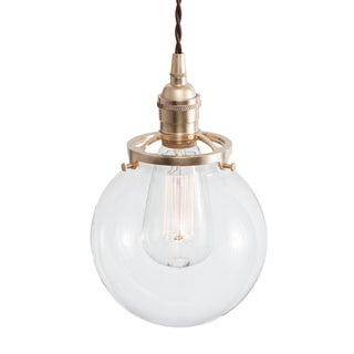 Glass Globe Pendant Light - Raw Brass W/ Brown Cord