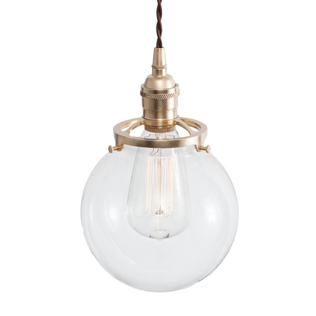Image of Glass Globe Pendant Light - Raw Brass W/ Brown Cord
