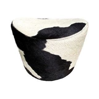 Black & White Cowhide Swivel Ottoman