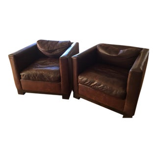 Design Within Reach Brown Leather Armchairs - A Pair