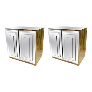 Ello Hollywood Regency Mirrored Brass Nightstands - A Pair