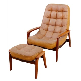 Leather Mid-Century Modern Lounge Chair & Ottoman
