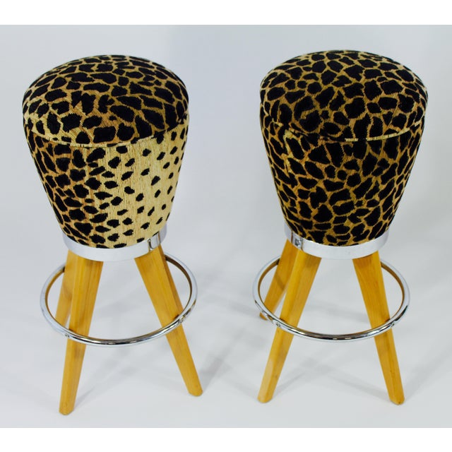 Image of Leopard Skin Fabric & Maple Bar Stools- A Pair