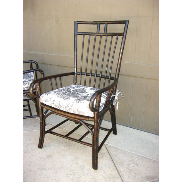 Black French Country Style Bamboo Chairs - Pair - Image 5 of 11