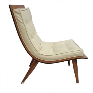 Wood And Leather Scoop Chair