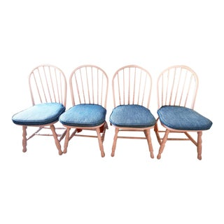 Pink Windsor Chairs With Tassel Cushions - Set of 4