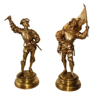 Pair of 19th Century Bronze Italian Solider Statues by E'le Guillemin
