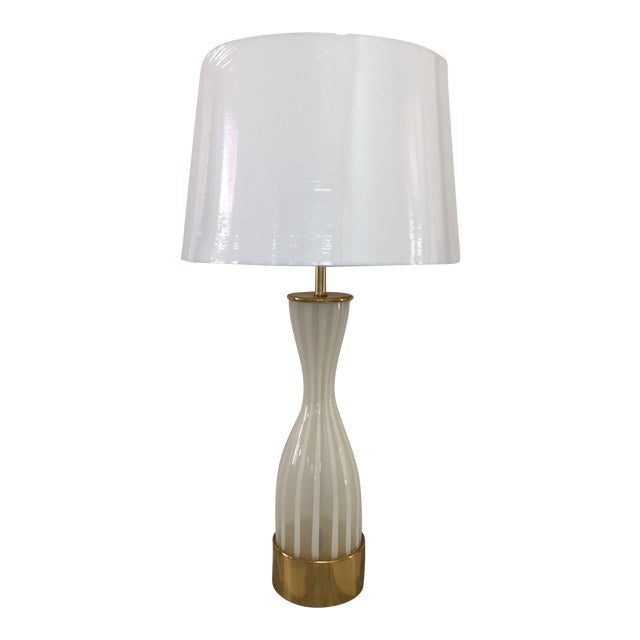 Italian Modern Glass and Brass Table Lamp - Image 1 of 8