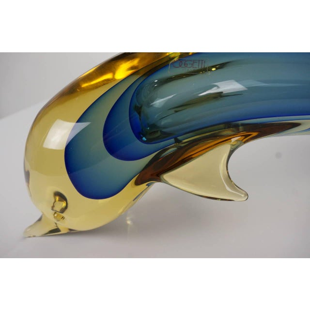 Image of Art Glass Dolphin Sculpture Murano, Italy by L. Omesto for Oggetti