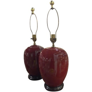 Ox Blood Red Glazed Ginger Jar Lamps - A Pair