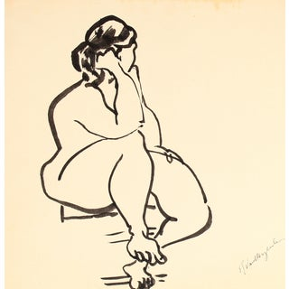 Mid-Century Expressionist Ink Drawing
