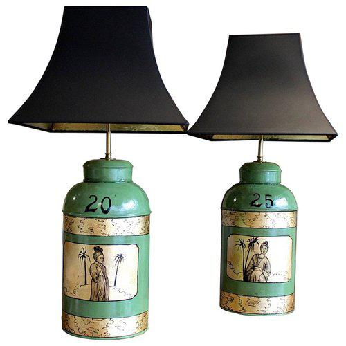 Green & Gilt Decorated Tôle Tea Canister Lamps - A Pair - Image 8 of 8