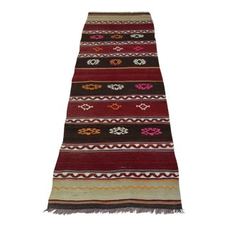 Vintage Striped Turkish Kilim Runner - 2′2″ × 7′