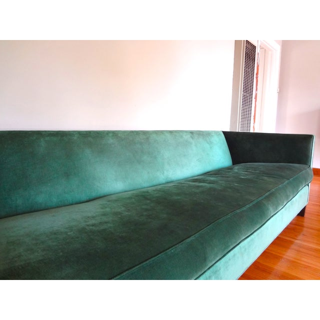 Large Emerald Green Velvet Pedestrian Sofa Chairish