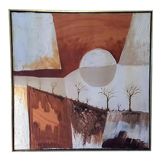 Mid-Century Trees and Moon Abstract Painting