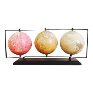 Vintage Hanging Globes on Stand - Set of 3