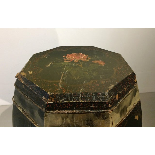 Vintage Chinese Hand Painted Wood Rice Bucket - Image 5 of 6