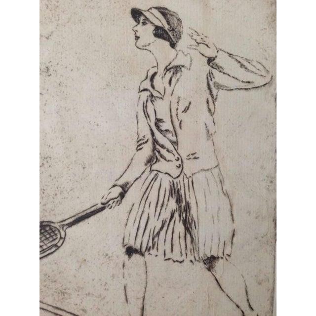 1930's Tennis Etchings Helen Moody Wills - A Pair - Image 3 of 6