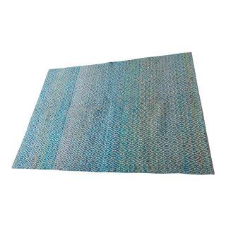 Handwoven Blue Diamond Kilim Dhurry - 4′8″ × 6′5″