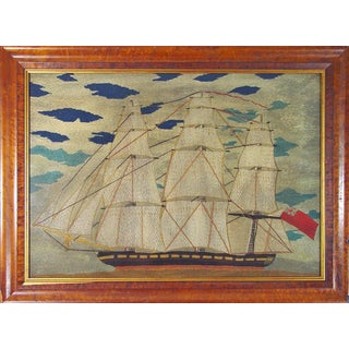 Victorian Sailor's Woolwork Woolie Large Picture of a Ship